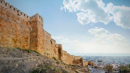 Wall of Naryn-Kala fortress View of Derbent city. Republic of Dagestan, Russia