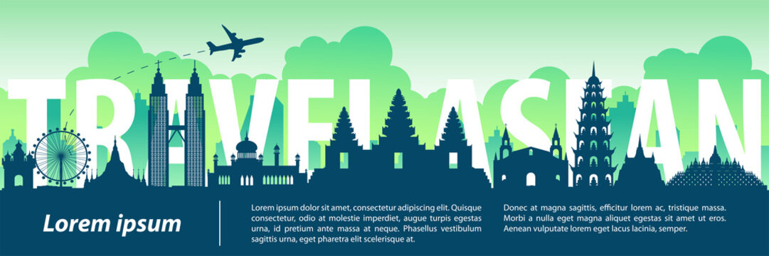 ASEAN top famous landmark silhouette style,text within,travel and tourism,vector illustration,flag color design