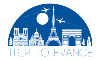 france top famous landmark silhouette in half circle shape with blue color style,travel and tourism,vector illustration