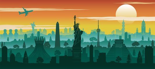 america famous landmark silhouette style with row design on sunset time,vector illustration Wall mural