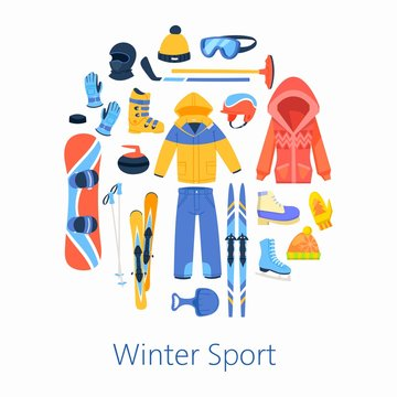 Winter sports accessories vector illustration, round composition poster. Skating, snow board riding, mountain skiing set with jacket, snow boot, poles and other winter sport.