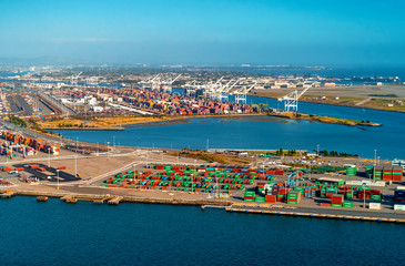 Oakland Harbor port terminal with shipping containers Wall mural