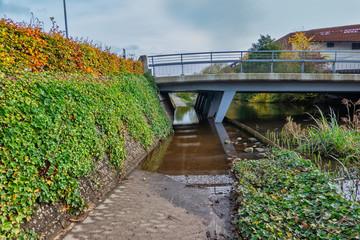 Flooded pedestrian pathway in Vejle, Denmark