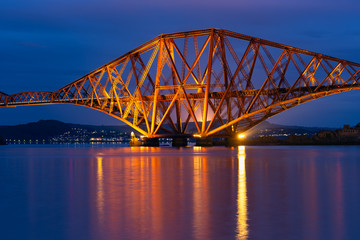 Evening view Forth Bridge over Firth of Forth in Scotland