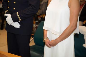wedding military groom bride white dress ceremony
