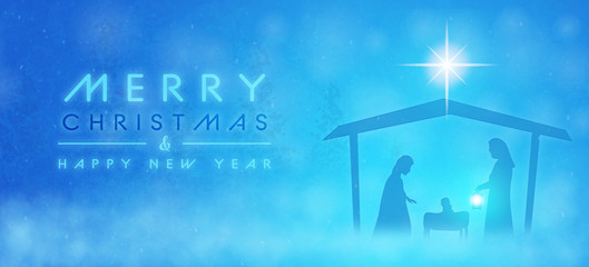 Christmas time. Manger with baby Jesus, Mary, Joseph and star of Bethlehem. Text : Merry Christmas & Happy New Year