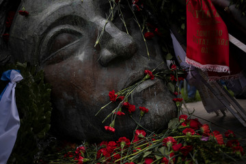 Carnations and wreaths are laid on a monument inside the Athens Polytechnic, to mark the 46th anniversary of a 1973 student uprising against the military junta that ruled the country at the time, in Athens