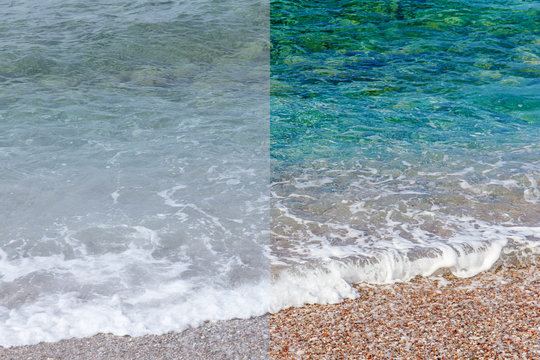 Photo before and after the image editing process. Sea waves