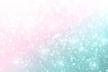 Christmas New Year colorful defocused pastel background with snowflakes and blinking stars.