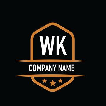 Initial Letter wk Vintage Logo Concept. Graphic Design Element for Business.