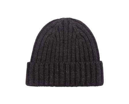 Dark grey beanie hat isolated on white background with clipping path.