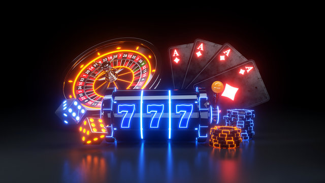 Casino Futuristic Concept Design Slot Machine and Poker Chips - 3D Illustration