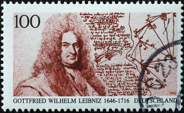 Portrait of philosopher Leibniz on german postage stamp