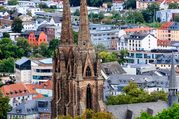 Panoramic view of university town Marburg with the Church of St. Elisabeth, Germany