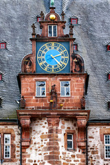 Town Hall renaissance tower with the clock gable in university town of Marburg, Hesse, Germany