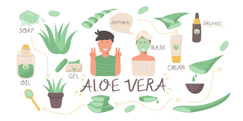 set of Aloe Vera, mask on woman face, medical and cosmetic products, potted plant, organic isolated on white background. cartoon flat vector illustration free hand drawing style