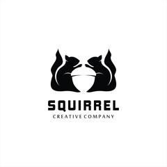 squirrel animal logo vector design, squirrel two  logo design inspiration