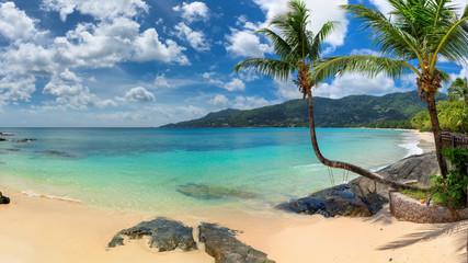 Fototapete - Tropical beach panoramic view of exotic in Seychelles, Beau Vallon beach, Mahe island.