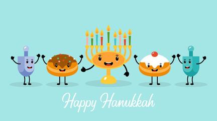 Hanukkah holiday banner design with menorah, traditional doughnuts and dreidel funny cartoon characters.