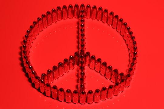 Friedenssymbol/ Friedenszeichen aus Patronen/ Munition - 9mm Para/ Luger