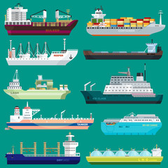 Cargo ship vector shipping transportation export trade container illustration set of industrial business freight transport port shipment isolated on background