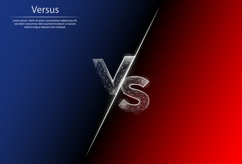 Abstract image VS in the form of a starry sky or space, consisting of points, lines, and shapes. 3D Low poly vector background. Confrontation on a red and blue background