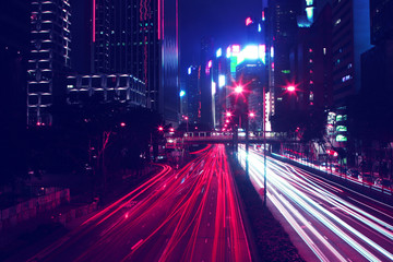 Night Time Car Trails in Hong Kong with a Retro Outrun Color Effect