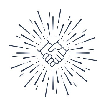 Handshake in the rays. Joint efforts. Vector linear icon on a white background.