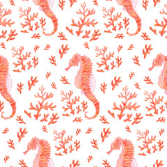 Bright red sea summer seamless pattern with the image of marine inhabitants: seahorse and coral. Hand pencil drawing. Isolated on a white background.
