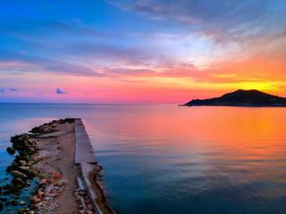 Fotobehang Blauwe hemel Sunrise in Alykes beach on Zakynthos island. Blue, Greece.