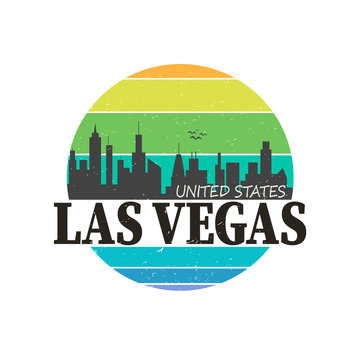 las vegas, nevada linear logo design for t shirts and stickers