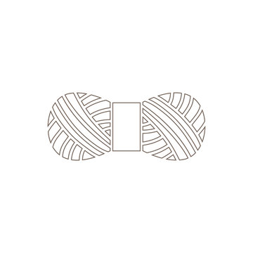 Isolated outline skein of yarn or threads. Wool and knitting symbol
