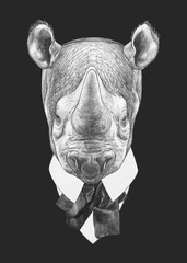 Portrait of Rhinoceros in suit. Hand-drawn illustration. Vector isolated elements.
