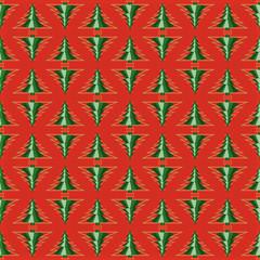 Red seamless Christmas tree pattern illustration