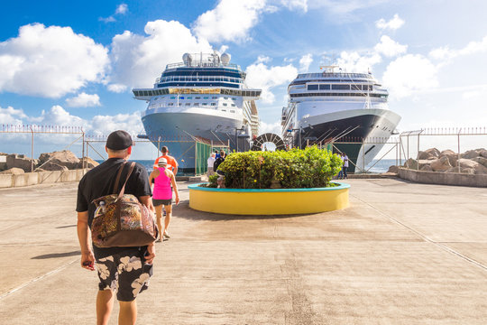 BASSETERRE, ST. KITS AND NEVIS 14 DECEMBER, 2016: Cruise passengers return to cruise liner