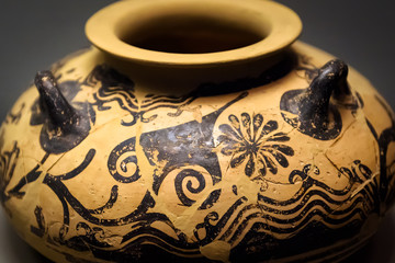 Vase from the excavations in Greece. Painted archeological pottery.