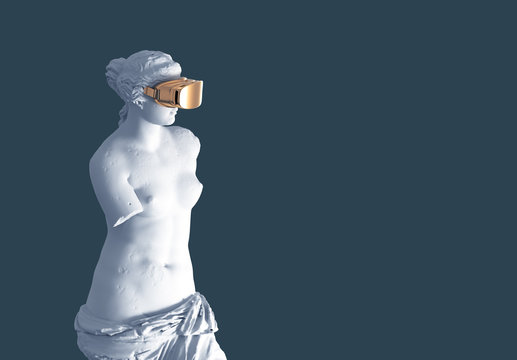 3D Model Aphrodite With Golden VR Glasses On Blue Background. Concept Of Art And Virtual Reality.