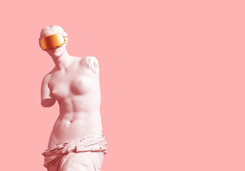 3D Model Aphrodite With Golden VR Glasses On Pink Background