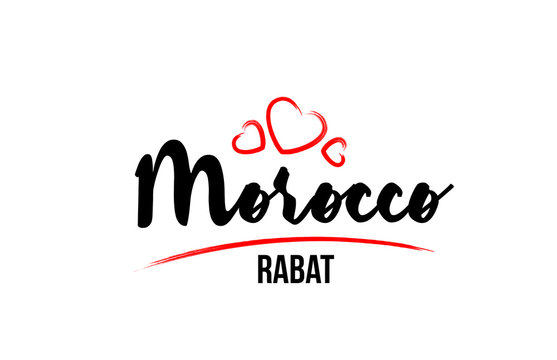 Morocco country with red love heart and its capital Rabat creative typography logo design