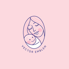 Vector logo design template and emblem in simple line style - happy mother and child - badge for children store and baby care centers, babysitting and nanny service