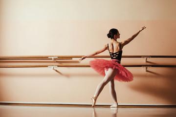 Rear view of female ballet dancer practicing in dance studio.