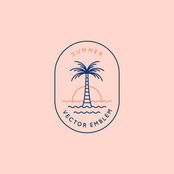 Vector logo design template with palm tree