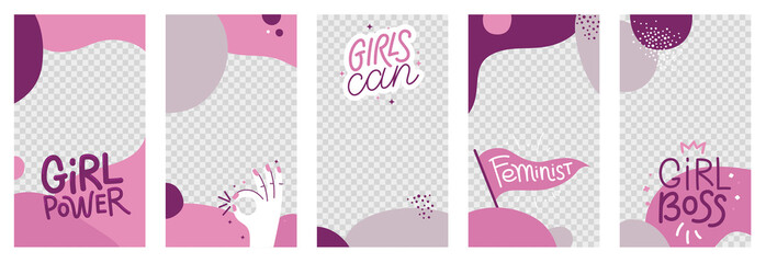 Vector abstract social media stories and post wallpapers with girl power badges and phrases