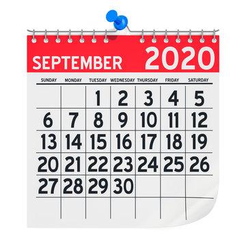September 2020 Monthly Wall Calendar, 3D rendering