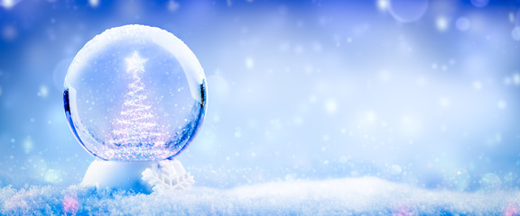 Colorful Snow Globe With Christmas Tree And Star Made Of Lights And Soft Falling Snow Background - Christmas Concept