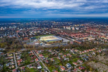 Aerial drone view on Zabrze city and stadium