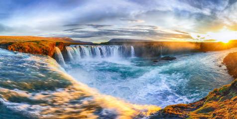 Wall Mural - Fantastic sunrise scene of powerful Godafoss waterfall.