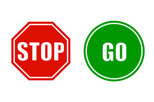 Stop and go signs - stock vector