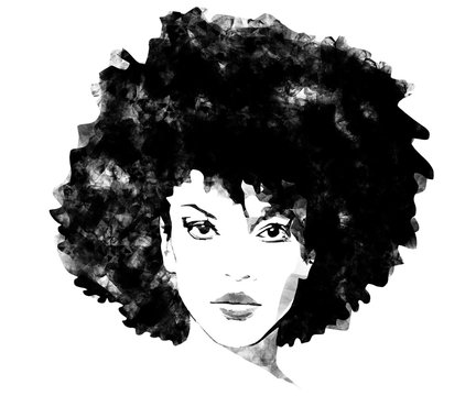 African American woman with big afro hair black and white fashion background sketch illustration painting
