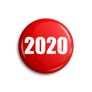 Happy New 2020 Year button. Red glossy blank badge decoration - stock vector